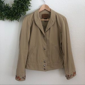 Ralph Lauren Khaki colored embroidered jean jacket
